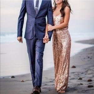 💐 NWT BHLDN Donna Morgan Rose Gold Sequin Gown